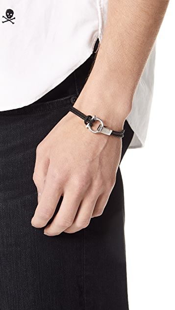 Salvatore Ferragamo Single Gancio Braided Leather Bracelet