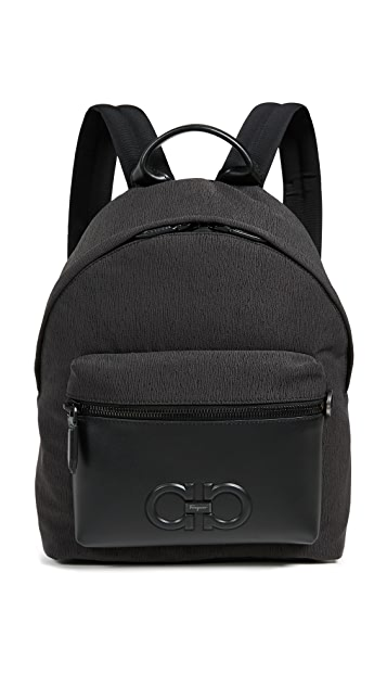 Salvatore Ferragamo Firenze Logo Nylon Backpack