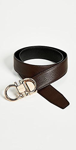 Salvatore Ferragamo - Rose Gold Double Gancio Reversible Belt