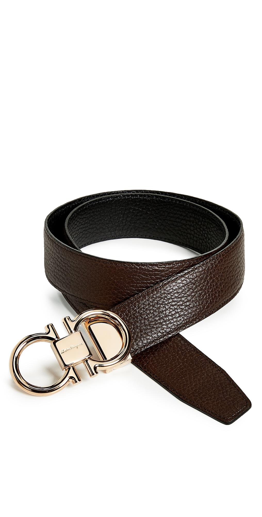 Salvatore Ferragamo Rose Gold Double Gancio Reversible Belt