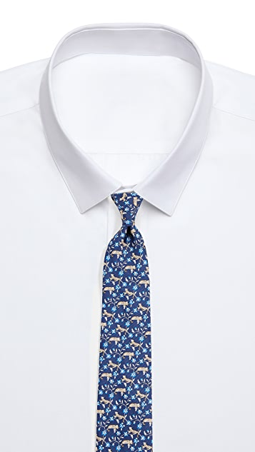 Salvatore Ferragamo Cheetah & Flower Tie
