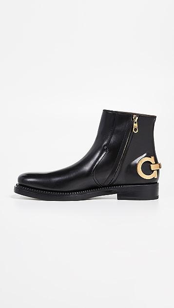 Salvatore Ferragamo Bankley Gancini Heel Runway Boots