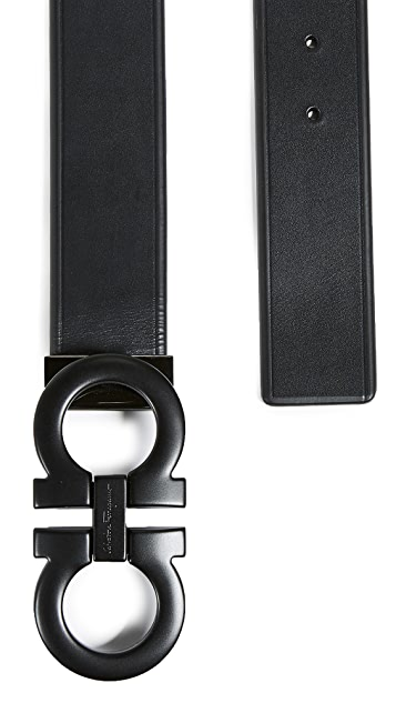 Salvatore Ferragamo Tonal Large Double Gancio Belt
