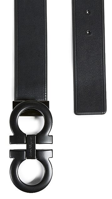 Salvatore Ferragamo Tonal Large Double Gancio Belt