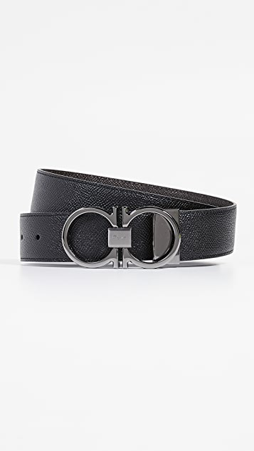 Salvatore Ferragamo Gunmetal Thin Double Gancio Belt