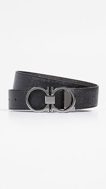 Salvatore Ferragamo Gunmetal Thin Double Gancio Belt
