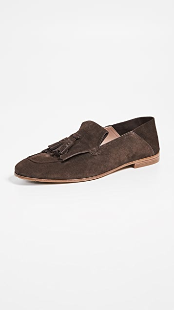 Salvatore Ferragamo Arizona Suede Collapsible Back Loafers