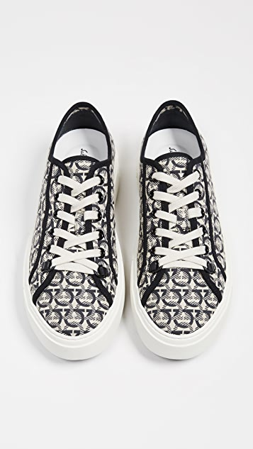 Salvatore Ferragamo Anson Gancio Print Low Top Sneakers