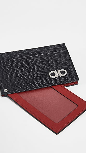 Salvatore Ferragamo Revival Gancio Card Case with Red ID Insert