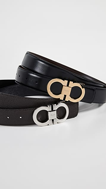 Gancini Buckle Reversible Belt Box Set