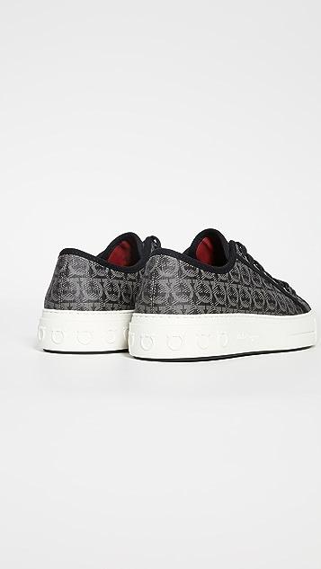 Salvatore Ferragamo Anson Gancio Print Sneakers