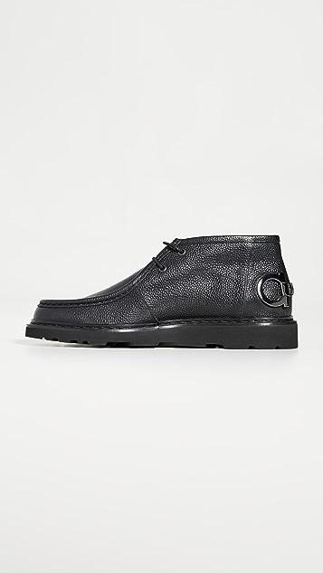 Salvatore Ferragamo Terry Gancio Heel Chukka Boots