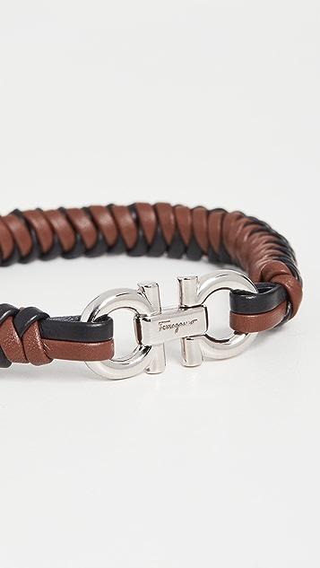 Salvatore Ferragamo Leather Plait Bracelet
