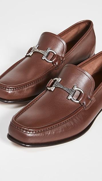 Salvatore Ferragamo Swan Leather Loafers