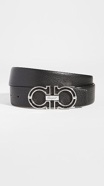 Salvatore Ferragamo Adjustable and Reversible Double Gancini Belt