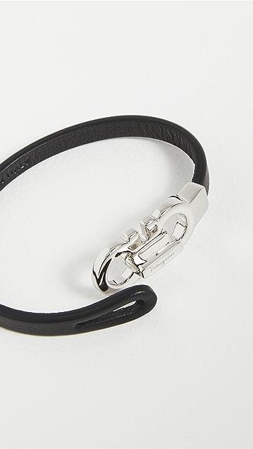 Salvatore Ferragamo Gancini Leather Bracelet