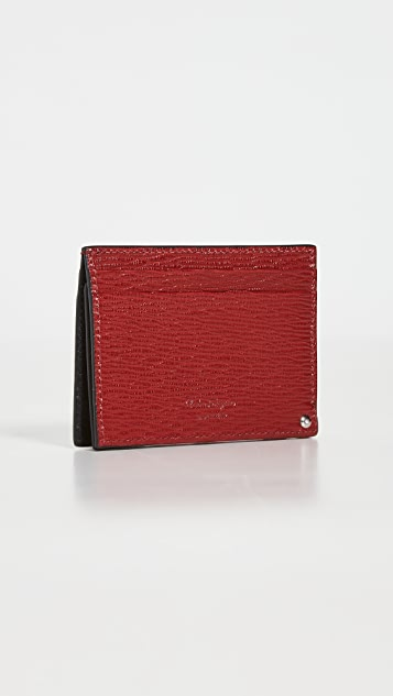 Salvatore Ferragamo Revival Gancini Bicolor Card Case