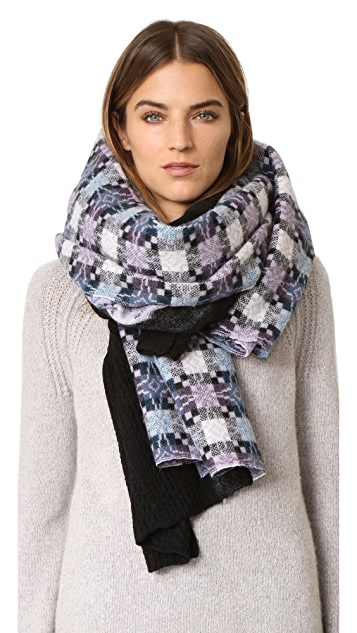 Standard Form Oversized Star Plaid Scarf