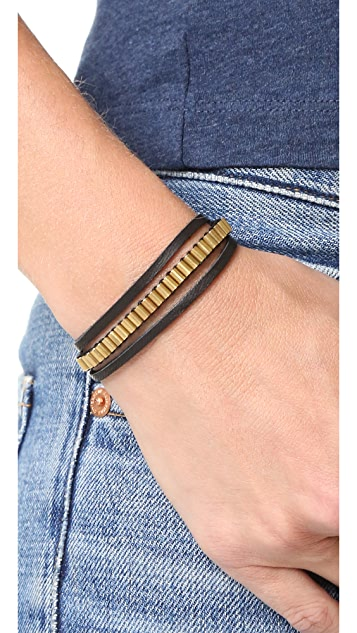 Shashi Military Leather Wrap Choker Necklace
