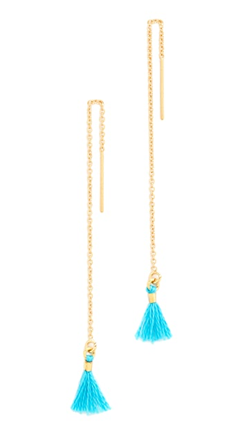 Shashi Thread Tassel Earrings