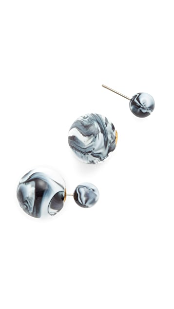 Shashi Marble Double Ball Earrings