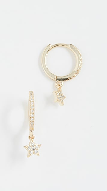 Shashi Star Pave Hoop Earrings