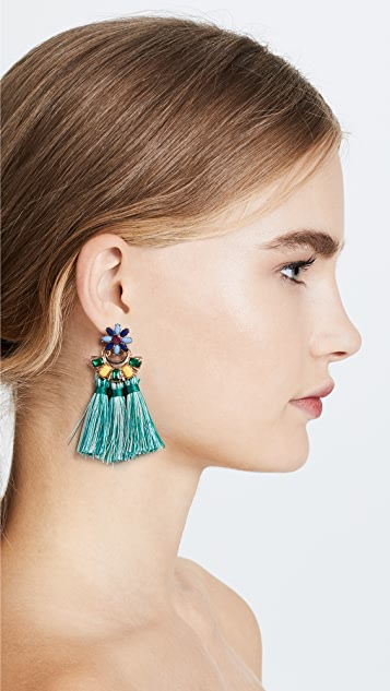 Shashi Flower Tassel Earrings