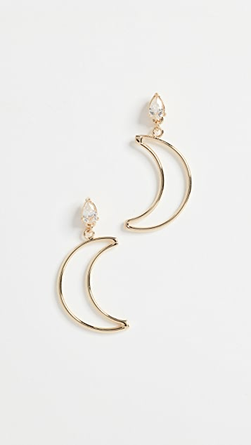 Shashi Crescent Diamond Drop Earrings - Yellow Gold