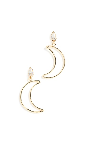 Shashi Crescent Diamond Drop Earrings