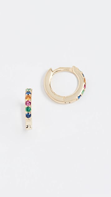 Shashi Rainbow Katerina Pave Huggie Earrings
