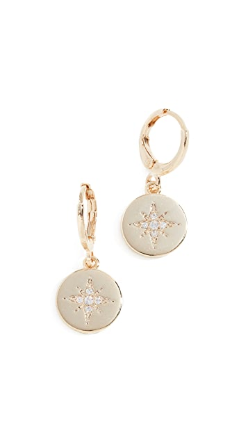 Shashi Starburst Coin Huggie Earrings
