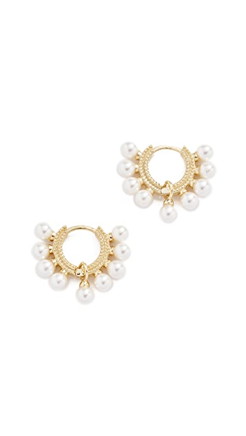 Shashi Lola Pearl Huggie Earrings