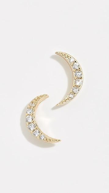 Shashi Серьги-гвоздики Moon с паве