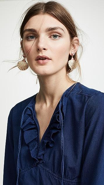 Shashi Gold Shell Drop Earrings
