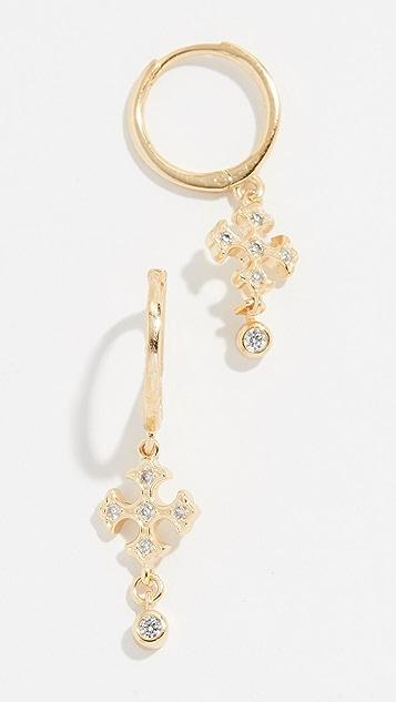 Shashi Gia Huggie Earrings - Yellow Gold/Clear