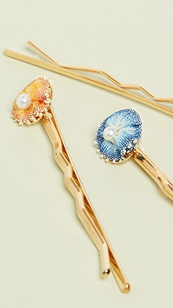 Shashi Set Of 3 Flower With Swarovski Pearl Hair Pins
