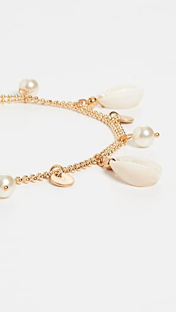 Pearl And Shell Anklet by Shashi