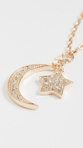 SHASHI 月亮星星密镶项链