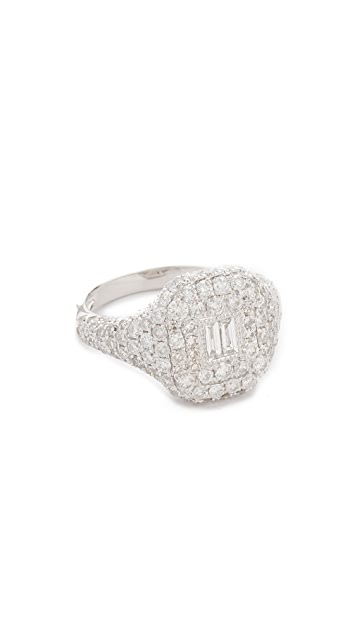 Shay 18k White Gold Pave Essential Diamond Pinky Ring