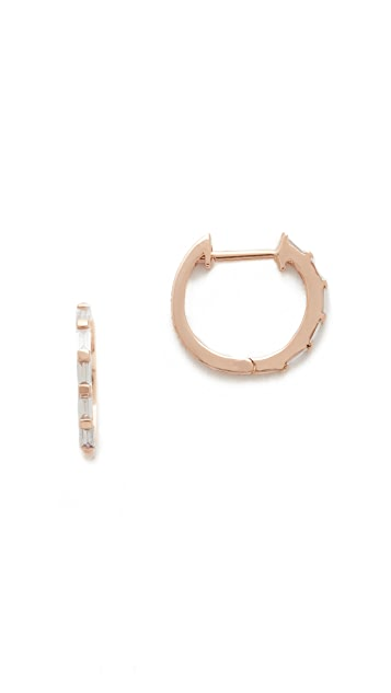 Shay 18k Rose Gold Mini Baguette Diamond Huggie Earrings - Rose Gold/White Diamond