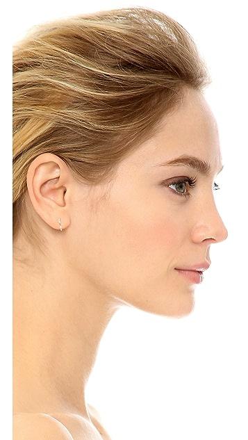 Shay 18k 玫瑰金迷你长方形钻石贴耳耳环