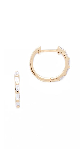 Shay Mini Baguette 18k Gold Diamond Huggie Earrings