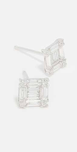 SHAY - 18k White Gold Square Stacked Baguette Stud Earrings