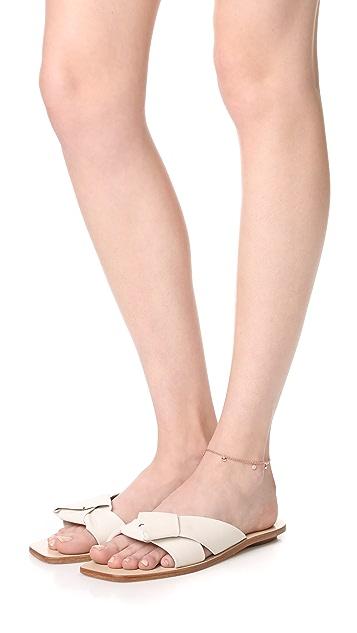 Shay 18k Rose Gold Alternating Pave Dangle Drop Anklet