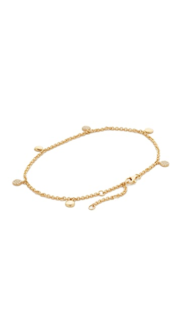 Shay 18k Gold Alternating Pave Dangle Drop Anklet