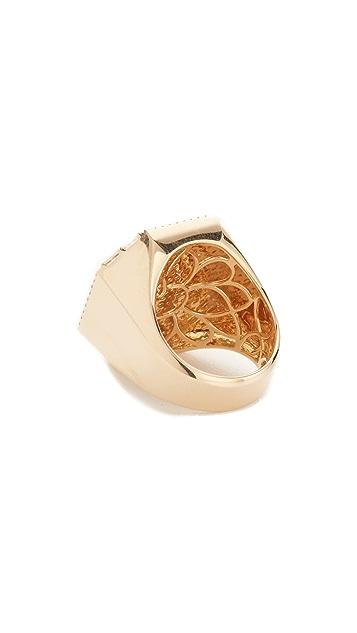 Shay 18k Gold Jumbo Pave Octagon Signet Ring