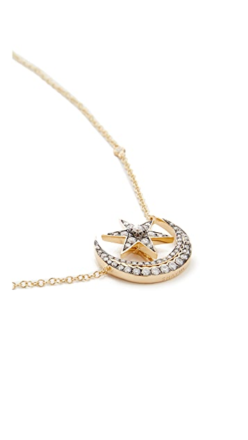 Shay 18k Gold Crescent Moonstar Necklace