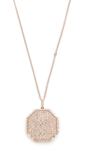 Shay 18k Gold Full Pave Octagon Locket Necklace