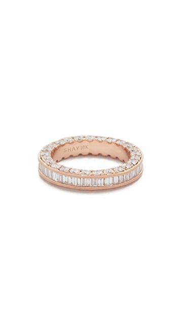 Shay 18k Gold 3 Sided Eternity Ring with Baguette Diamond Center