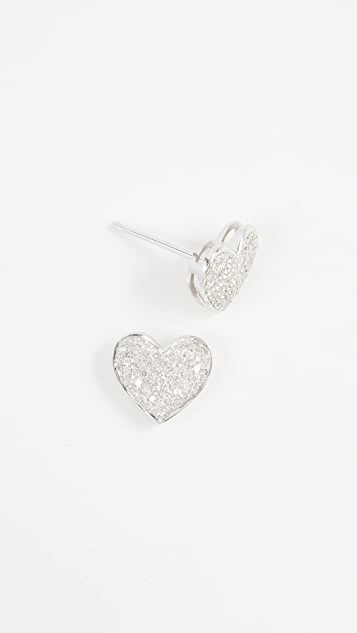 Shay 18k Gold Pave Heart Stud Earrings